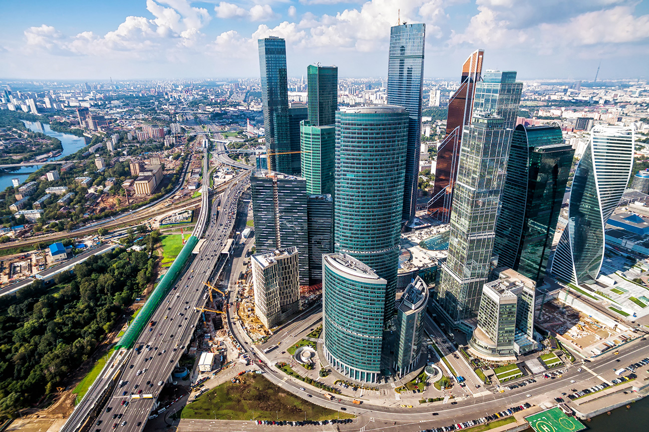 Aerial view of Moscow-City (Moscow International Business Center) over Moskva River. Moscow-City is a modern commercial district in central Moscow.