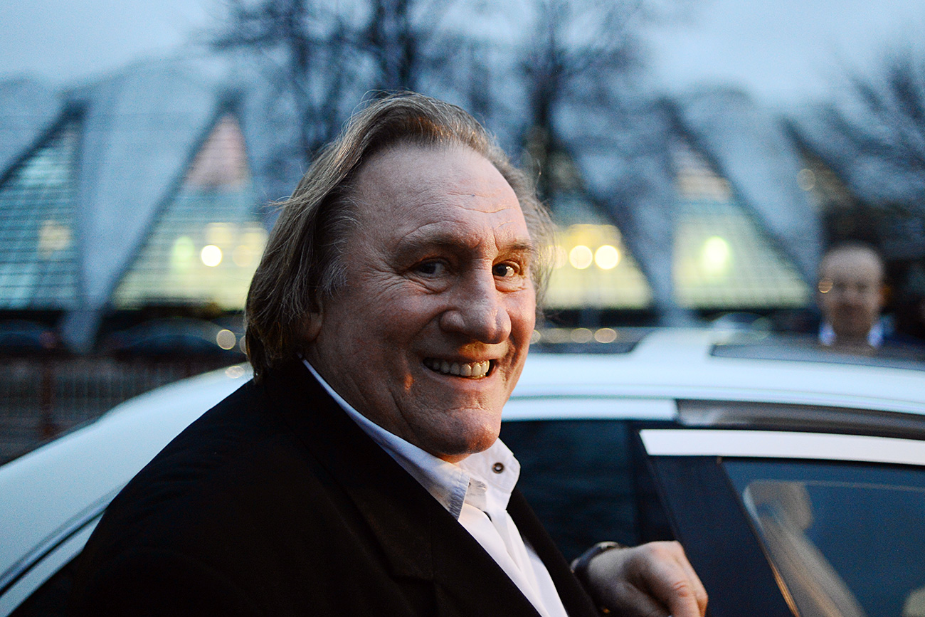 Actor Gerard Depardieu after tasting Crimean wines in a Moscow restaurant.