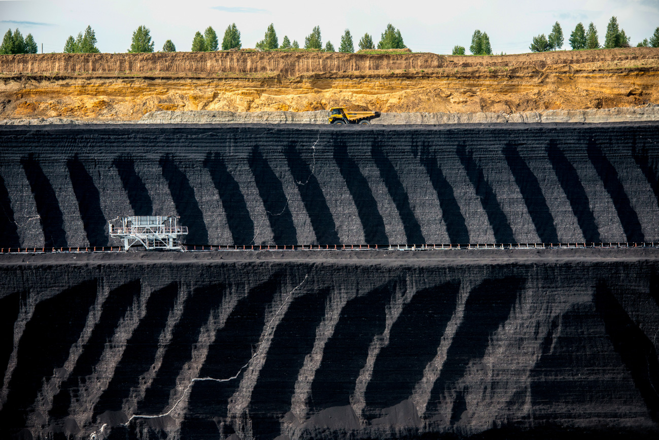 The coal at the Berezovsky is extracted by the open-pit method of mining - it's cheaper and safer than underground mining. The thin surface of the earth conceals coal layers up to 65 meters thick!