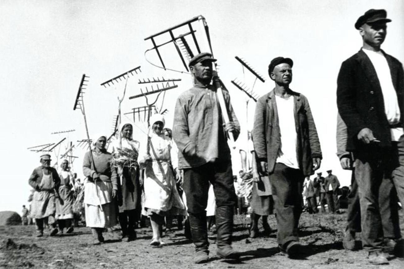 Kolektivizacija je kmetom prinesla globoke travme. Prisilno odvzemanje mesa in kruha je pripeljalo do brutalnosti na vasi. Mnogi so raje klali lastno živino, kot da bi jo predajali kolektivnim kmetijam. Včasih je morala sovjetska vlada pripeljati vojsko, da bi zadušila vstaje.