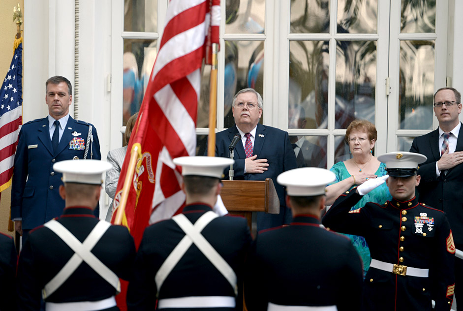 John Tefft at the celebration commemorating U.S. Independence Day at Spaso House