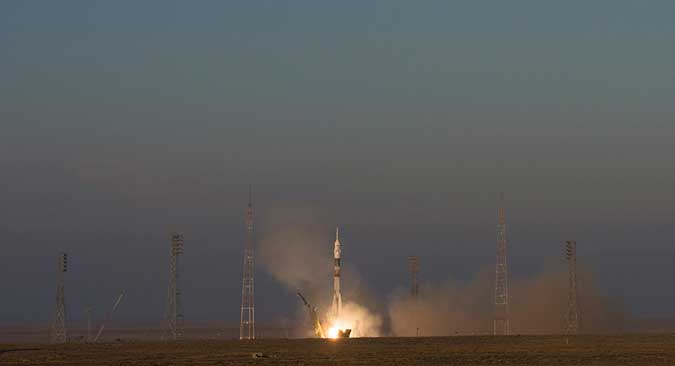 Three Expedition 46 crew members launch aboard the Soyuz TMA-19M rocket from the Baikonur Cosmodrome in Kazakhstan.