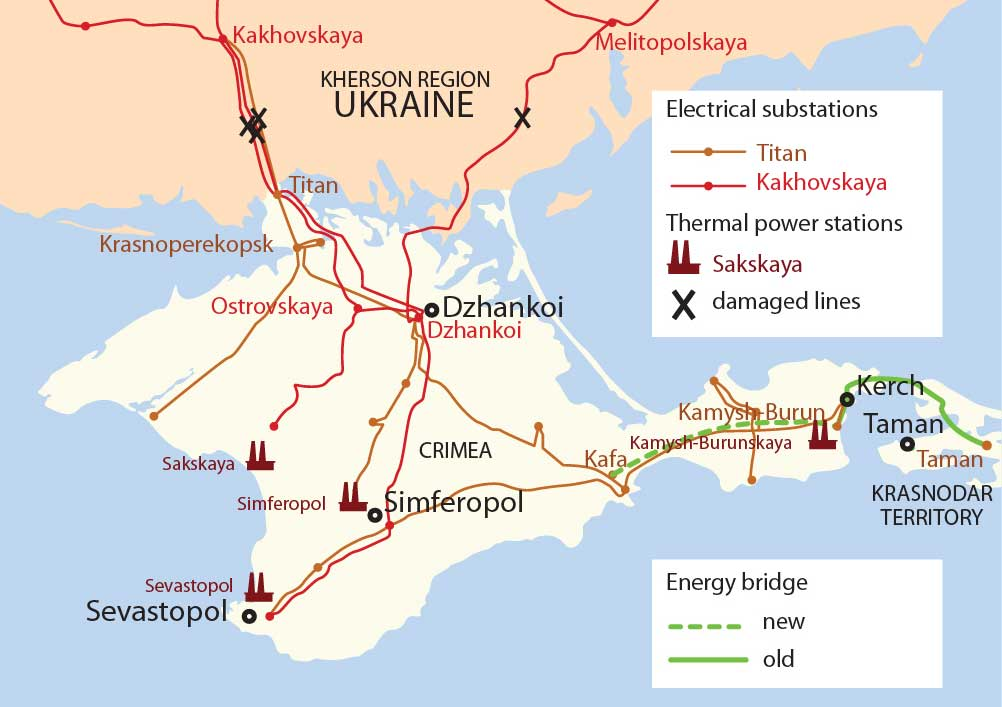 The second line of 'energy bridge' between Krasnodar Territory and the Crimean peninsula was launched on Dec. 15. The first segment was started up in early December. Another two lines of the energy bridge from Russia are due to be commissioned in May 2016 to enlarge the total power capacity to 1,300 megawatts, excluding electricity flow from Ukraine.