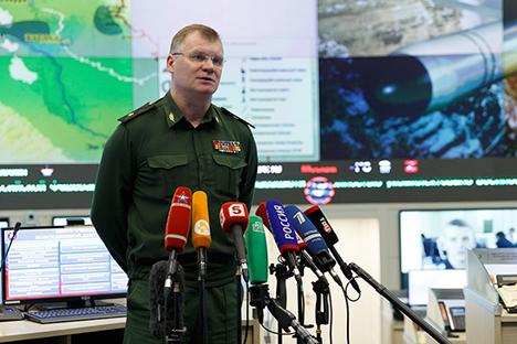 """""""Kami telah berulang kali menekankan bahwa pesawat dari Pasukan Kedirgantaraan Rusia di Republik Arab Suriah tidak pernah menyerang sasaran di daerah berpenduduk,"""" kata Juru Bicara Kementerian Pertahanan Rusia Igor Konashenkov."""