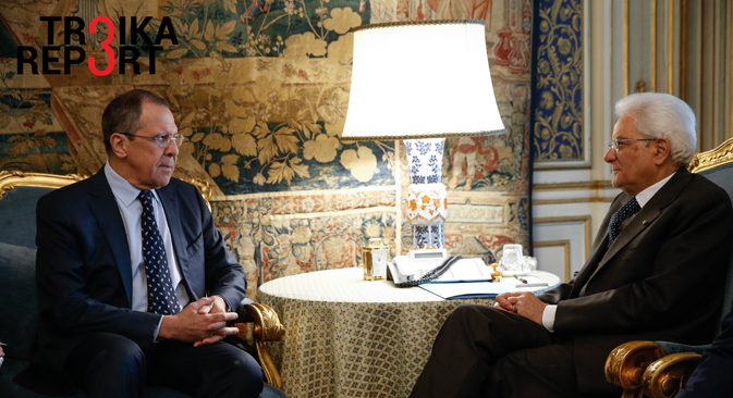Russia's Foreign Minister Sergei Lavrov (L) and Italy's President Sergio Mattarella meet for talks at the Quirinal Palace, Dec. 11.