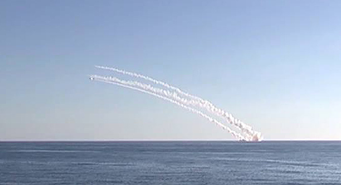 A multiple launch of Kalibr seaborne cruise missiles from the submerged Rostov-on-Don submarine.