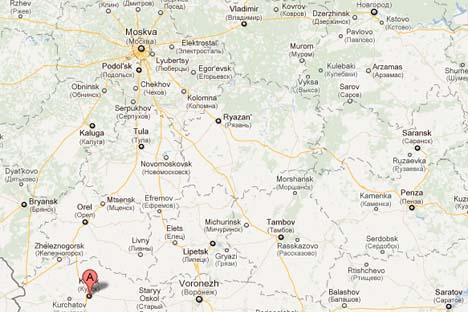 Cidade de Kursk na mapa da Rússia (cerca de 500 km a sul de Moscou)