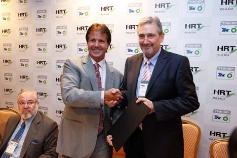 Foi assinado o acordo entre a TNK-BP e a brasileira HRT O & G  Foto: Assessoria de imprensa do TNK