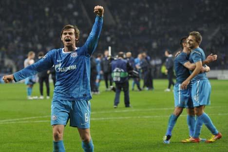 Jogadores de Zenit celebram a vitória Foto: RIA Nóvosti
