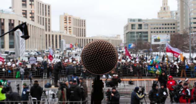 Vista do palco montado na avenida Prospekt Sakharova Foto: Kiril Rudenko