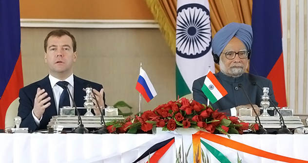 Prime Minister Manmohan Singh and Russian President Dmitry Medvedevat the joint press conference, Hyderabad House, New Delhi.December, 21. Source: RIA Novosti