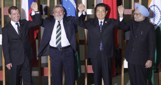 The presidents of each of the BRIC countries celebrate theirnewfound statusSource: Reiters/Vostock Photo
