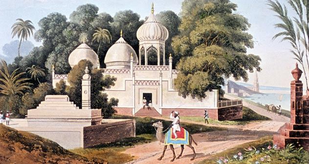 1824 India Lithographs. A Mosque and gravesite at Benares. Source: Ullstein Bild/Vostock-Photo