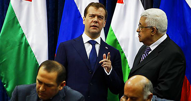 Dmitry Medvedev and Mahmud Abbas in Jericho. Source: Reuters/Vostock Photo
