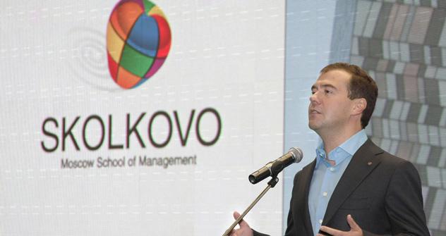 Medwedjew selbst ist begeistert von Skolkovo - der Forschungsstadt der Zukunft. Foto: Itar-TASS