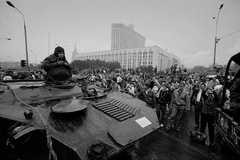 Golpe de estado en Rusia, 19 de agosto de 1991. Foto de Photosoyuz