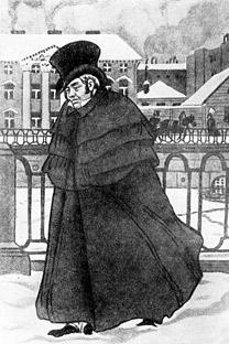 """Ilustração de Akáki Akákievitch, protagonista de """"O capote"""" Fonte: Libre de droit"""