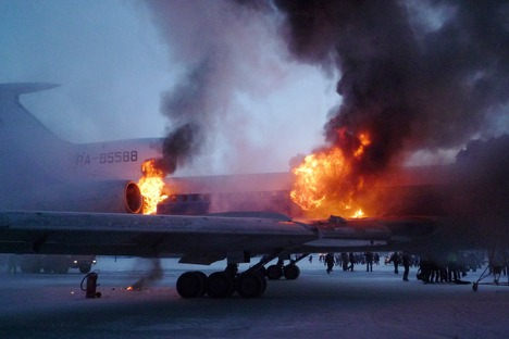 A TU-154 burst into flames in Surgut on New Year's Day