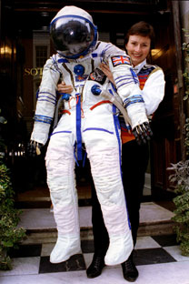 High life: Helen Sharman and Soviet-issue Sokol space suit. Source: Reuters/Vostock Photo