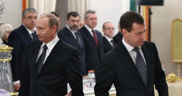 Vladimir Putin and Dmitry Medvedev.   Source: Kommersant Photo
