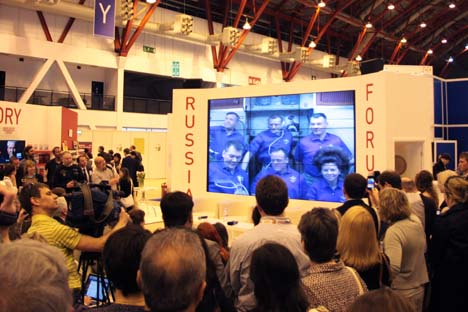 Cosmonauts' message to Russia Market Focus at London Book Fair. Photo: Academia Rossica