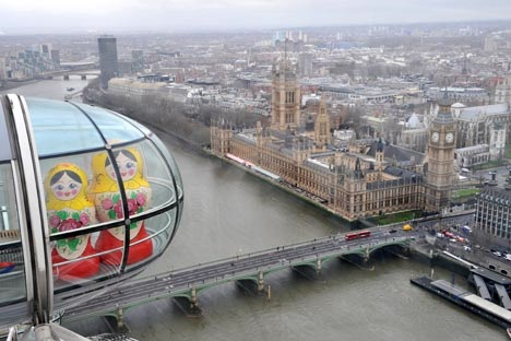 Giant matryoshka dolls take a spin on the London Eye for the opening of the Russian Winter Festival held at the South Bank Centre in January 2008. Photo: NilsJorgensen/RexFeatures