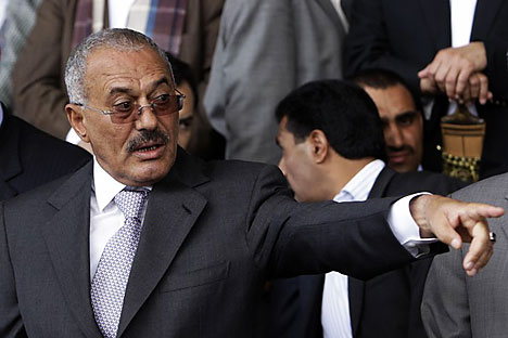 Yemen's President Ali Abdullah Saleh points towards supporters during a rally in Sanaa April 29.2011. Vast crowds of Yemenis took to the streets on Friday to demand the immediate departure of Saleh, instead of the phased handover of power envisaged b