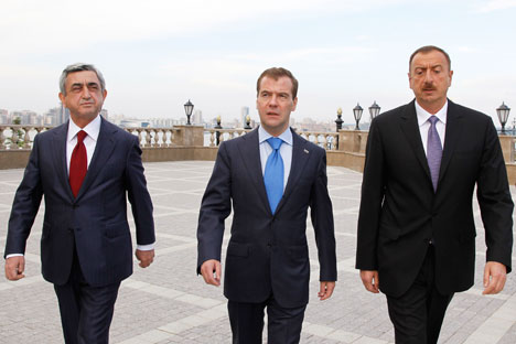 Armenian President Serge Sargsyan and Azerbaijani President Ilham Aliyev met in the Russian city of Kazan at a meeting hosted by Dmitry Medvedev. Source: ITAR-TASS
