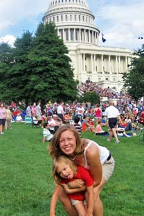 Lara with her daughter Lily at the Capitol