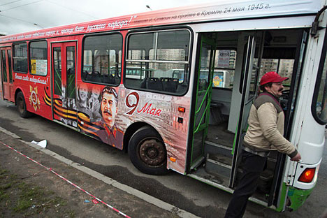 A commuter bus with a portrait of Joseph Stalin in St. Petersburg.   Source: RIA Novosti