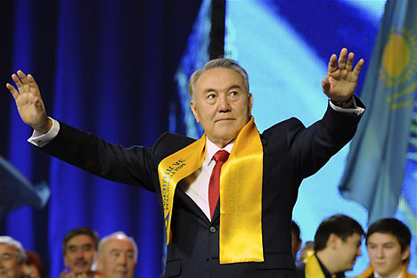 Kazakhstan's President Nursultan Nazarbayev greets supporters during the 'Forward, together with the leader' forum in Astana April 4, 2011.   Source: Reuters/Vostock