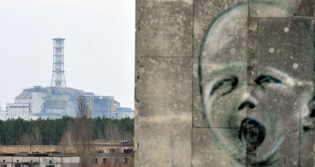 Graffiti art reminiscent of Edvard Munch's The Scream adorns a wall in Pripyat, near the shrouded fourth reactor. Photo: AFP/EastNews