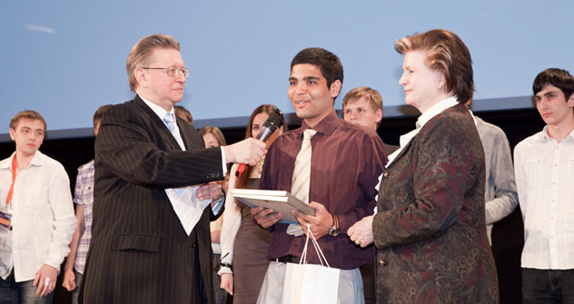 Siddharth Kalra received the grand prize, space tourism, which includes a trip to the Baikonur Cosmodrome.