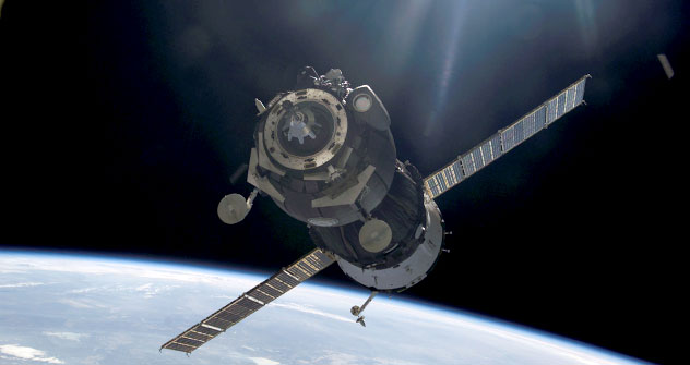 The Soyuz spaceship named after Gagrin approaches the International Space Station for docking on April 7.   Source: NASA