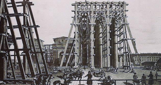 Andamios para la construcción de la Catedral de San Isaac. San Petersburgo.
