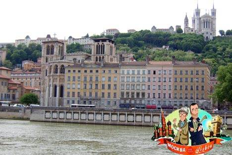 Die Cathedrale St-Jean vom Ufer der Saône