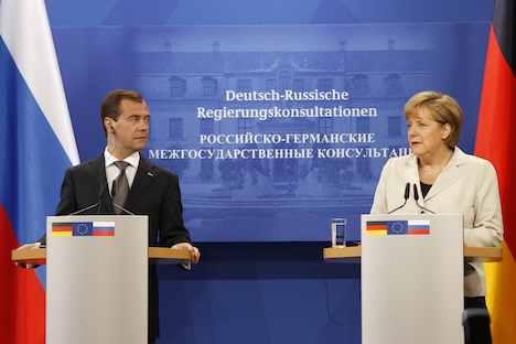 Russischer Präsident Dmitri Medwedjew und Bundeskanzlerin Angela Merkel bei den den 13. deutsch-russischen Regierungskonsultationen. Foto: ITAR-TASS