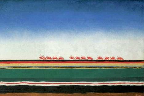 Kazimir Malévich Caballería Roja, 1930 Óleo sobre lienzo. Foto de la exposición La Caballería Roja de La Casa Encendida