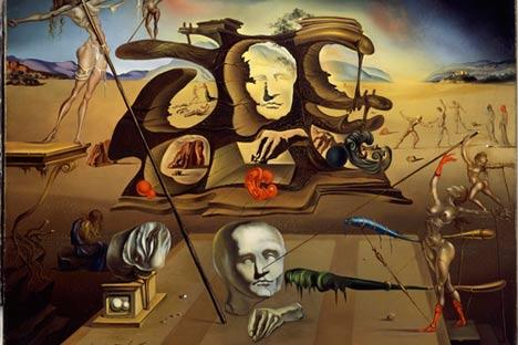 La nariz de Napoleón transformándose en una mujer encinta..., 1945 © Salvador Dalí. Fundació Gala-Salvador Dalí, VEGAP, Moscú, 2011