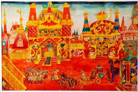 Diseño para la escenografía Le Coq d'Or. Natalia Goncharova, 1914. 65 x 97 cm. Lápiz, acuarela y gouache sobre papel. Museo Estatal Central del Teatro A.A. Bajrushin. Moscú