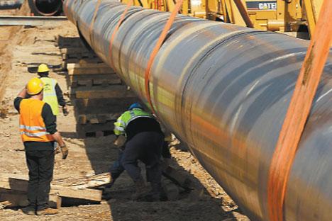 Abril de 2010: la construcción del gasoducto NEL. Foto de Getty Images/Fotobank