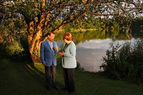 Merkel und Medwedew beim Petersburger Dialog. Foto: Wladimir Rodionow/ RIA Novosti