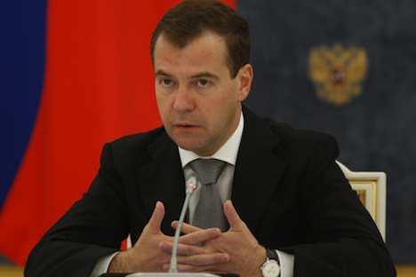 Präsident Dmitri Medwedew in Magnitogorsk. Foto: RIA Novosti
