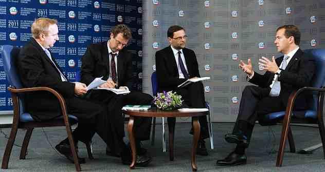 """Dmitri Medwedew gibt ein Interview der """"Financial Times"""""""". Foto: kremlin.ru"""