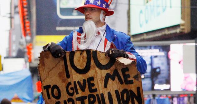 Amerikaner protestieren verkleidetet gegen eine höhere Staatsverschuldung. Foto: Reuters/Vostock photo