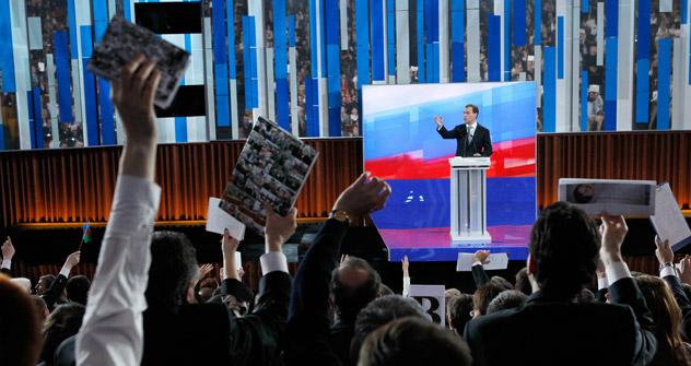 Mais de 800 jornalistas russos e estrangeiros participaram da entrevista/Foto:RIA Nóvosti