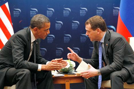 Russia's President Dmitry Medvedev and his American counterpart Barack Obama at the 2012 Nuclear Security Summit in Seoul. Source: AP
