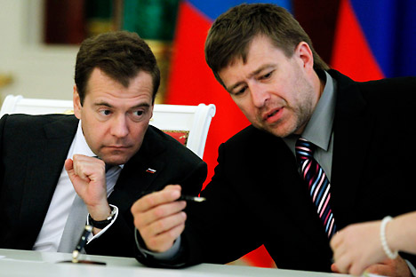 Russia's ongoing President Dmitry Medvedev and Justice Minister Alexander Konovalov. Source: ITAR-TASS
