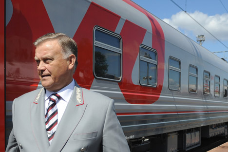 Russian Railways (RZD) President Vladimir Yakunin at the innovative train exhibition. Source: ITAR-TASS