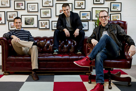 The Airbnb Russian team: Nathan Blecharczyk, Brian Chesky, Joe Gebbia (L-R). Source: Airbnb / Press Photo